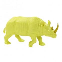 1 rhino en resine jaune fluo