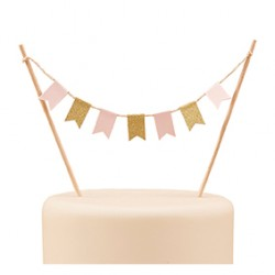 Cake topper fanions rose et or