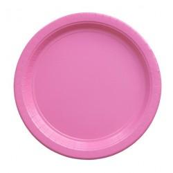 8 assiettes en carton - rose bonbon