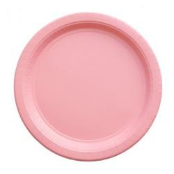 8 assiettes en carton - rose clair