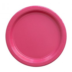 8 assiettes en carton - rose fuchsia