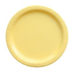 24 assiettes en carton - jaune