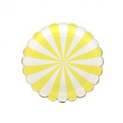 8 assiettes motif rayé jaune et blanc bord découpe arrondi - Or