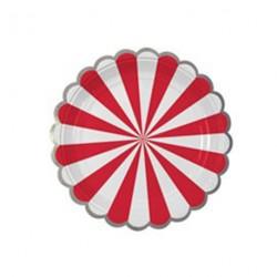 8 assiettes motif rayé rouge et blanc bord découpe arrondi - Argent