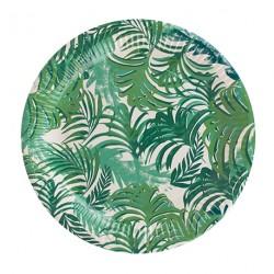 12 assiettes feuilles tropicales