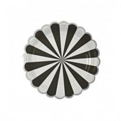 Assiettes motif rayé noir et blanc bord découpe arrondi - Argent