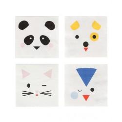 20 serviettes en papier - mini animaux