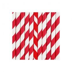 25 pailles à rayures rouge