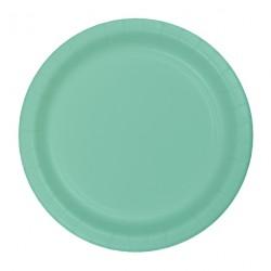 8 assiettes en carton - menthe