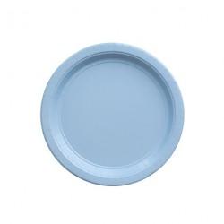 24 petites assiettes bleues pâle
