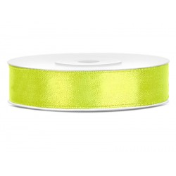 Ruban satin 12mm Jaune fluo-25m