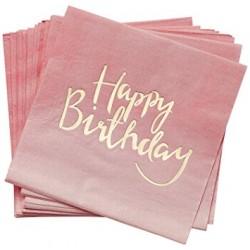 20 serviettes Happy Birthday rose poudré