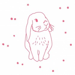 1 stickers Lapin rose fluo