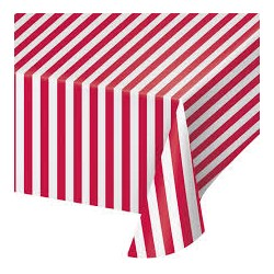 1 nappe lignée rouge et blanc