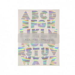 Alphabet Stickers - holographique Argent  Meri Meri