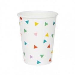 8 gobelets en carton - triangle multicolore
