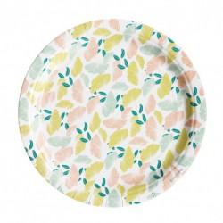 8 assiettes en carton - fleuri