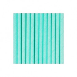 25 pailles unies vert acqua