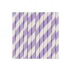 25 pailles en papier à rayures mauves