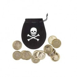Bourse pirate avec 12 pieces de monnaie