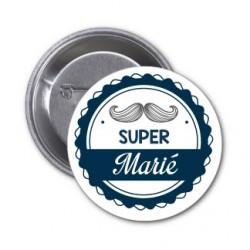 """Badge """"Super Marié"""" couleur au choix-modèle grande moustache"""