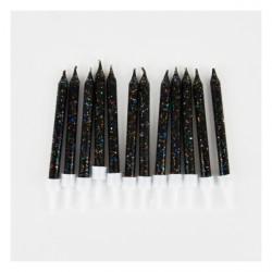 12 bougies à paillettes - noir