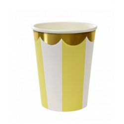 Gobelets motif rayé jaune et blanc bords arrondis  -  Or Meri Meri