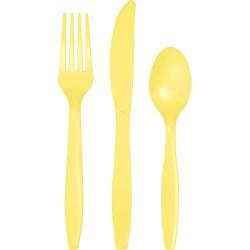 24 couverts en plastique - jaune