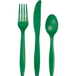 24 couverts en plastique - vert