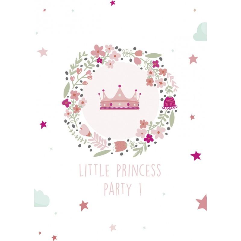 8 cartons d 39 invitation anniversaire princesse happy family. Black Bedroom Furniture Sets. Home Design Ideas