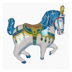 Ballon aluminium mylar-Cheval cirque bleu
