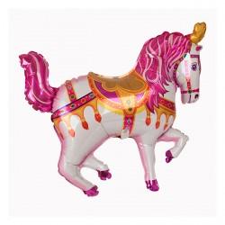 Ballon aluminium mylar-Cheval cirque rose