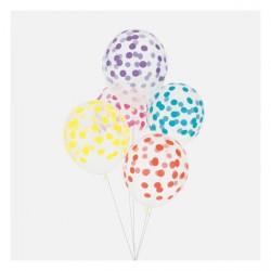 5 ballons imprimés confettis - mélange multicolore