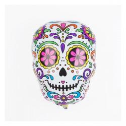 Ballon mylar crâne mexicain blanc