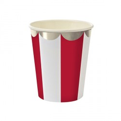 Gobelets motif rayé rouge et blanc bords arrondis  -  Or