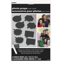 8 accessoires pour photobooth type ardoise avec craie
