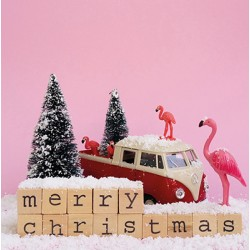 Carte flamant rose X-Mas