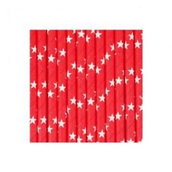 25 pailles - rouge & étoiles blanches