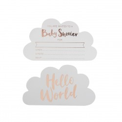 10 invitations Babyshower Hello world
