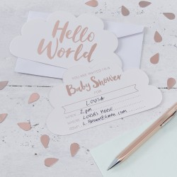 10 invitations Babyshower Hello world