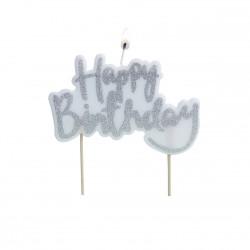 """1 bougie anniversaire """"Happy Birthday"""" argentée"""