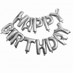 Guirlande mylar argentée Happy Birthday