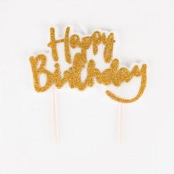 "1 bougie anniversaire ""happy Birthday"" dorée"