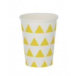 8 gobelets en carton - triangle jaune