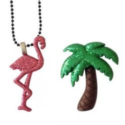 1 bague palmier et 1 collier flamant rose Miami style