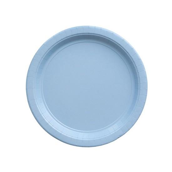 8 assiettes en carton - bleu ciel