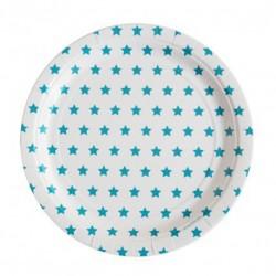 8 assiettes en carton - étoile bleue