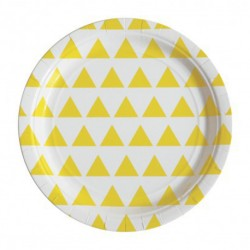 8 assiettes en carton - triangle jaune