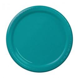 24 assiettes en carton - turquoise