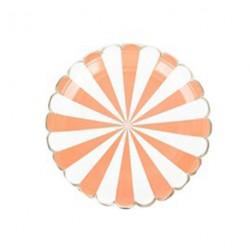 8 assiettes motif rayé orange et blanc bord découpe arrondi - Or